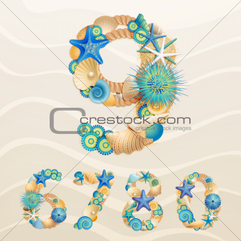 Numbers, vector sea life