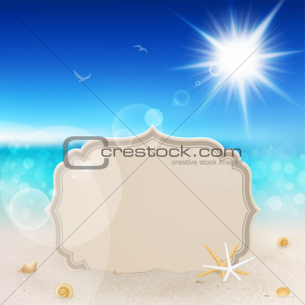 Beautiful seaside view with vintage greeting card