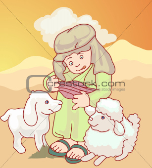 arab boy with his sheep
