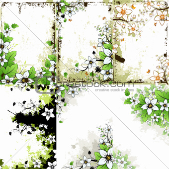 Grunge Floral Backgrounds Set