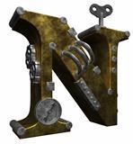 steampunk letter n