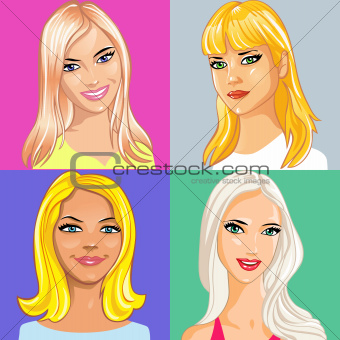 four young beautiful blonde girls smiling