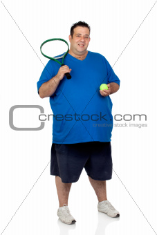 Fat man with a racket for play tennis