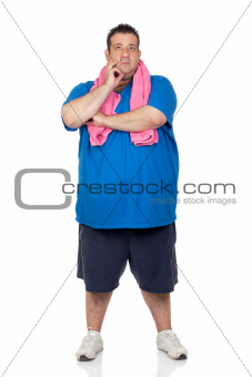 Pensive fat man playing sport