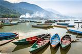 Wooden pleasure boats in Pokhara, Fewa Lake