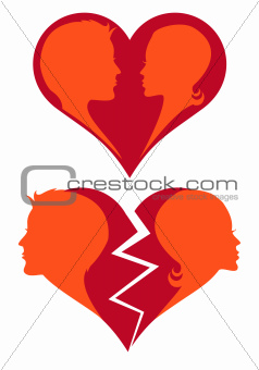 love and broken heart, vector