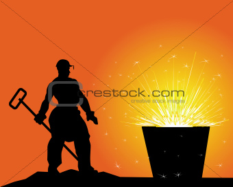 black silhouette of a steelworker