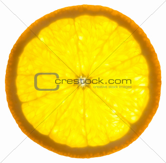 Slice of an orange /  isolated on white background /  back lit