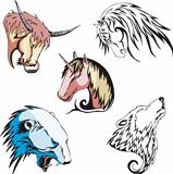 heads of wolf, polar bear, unicorn, horse and bull
