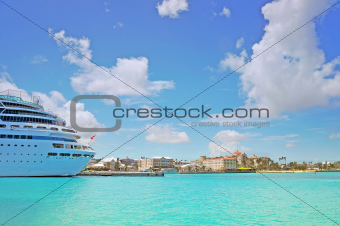 Beautiful cruise ship docked in Nassau - Bahamas