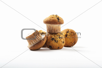 Delicious muffins on a white background
