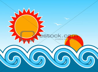 beach ball and waves