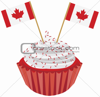 Happy Canada Day Cupcake with Flag Illustration