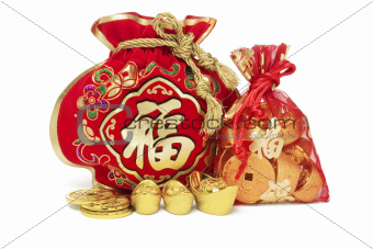 Red Gift Bags and Gold Ingots