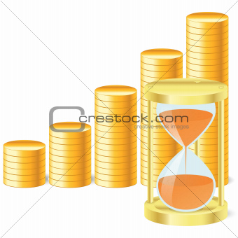 money icon with hourglass and coins