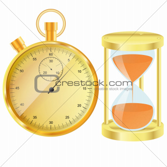 Gold stopwatch and hourglass
