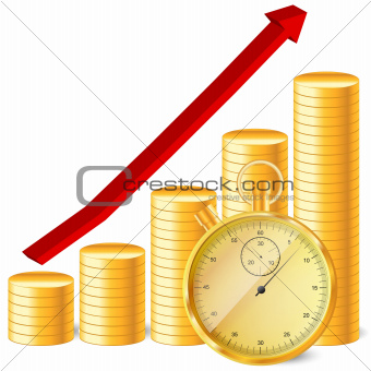 stopwatch with coins and arrow