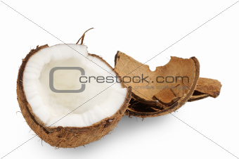 Fresh coconut and coconut shells