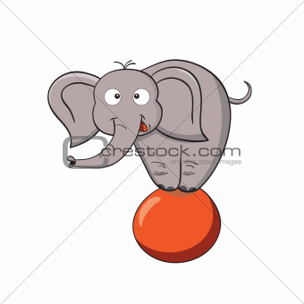 Cartoon elephant on a ball