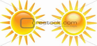 Bright burning sun set