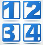 Blue 3d banners with numbers