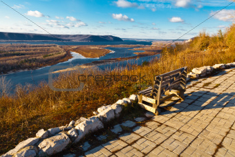 Wooden Bench and Panoramic View of Volga River Bend near Samara,
