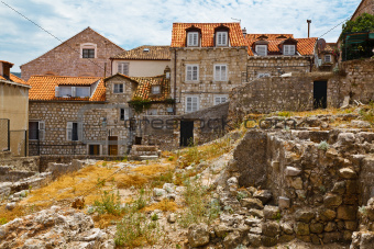 Houses Ruins in Dubrovnik, Croatia