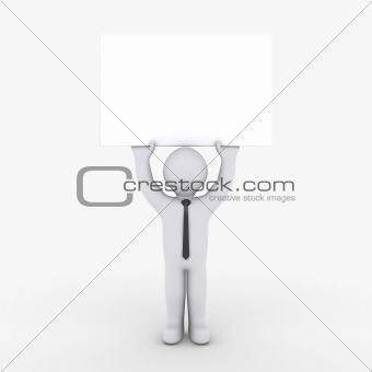 Businessman holding blank sign high
