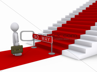 Businessman in front of stairs with no way sign