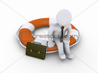 Businessman sitting on lifebuoy