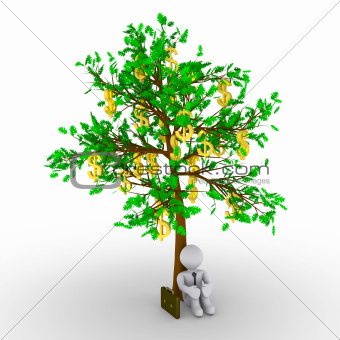 Businessman is sitting under a tree with dollars