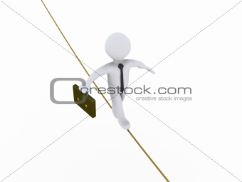 Businessman is walking on tightrope