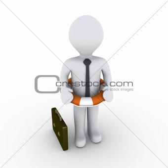 Businessman with lifebuoy around his waist