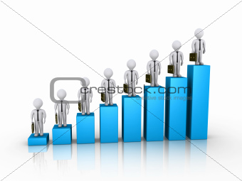 Businessmen on top of columns of chart