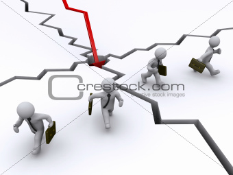 Businessmen running away of graph crash