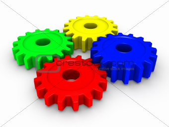 Four colored cogwheels