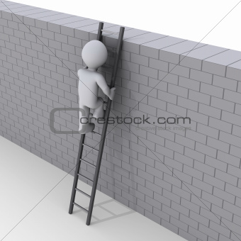 Person climbing ladder over a wall
