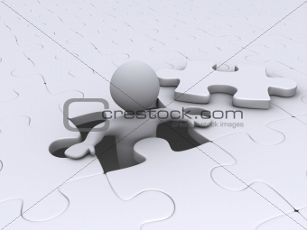 Person coming out of puzzle