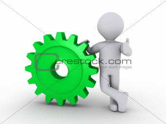 Happy person holding cogwheel