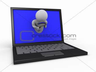Person with magnifier through laptop