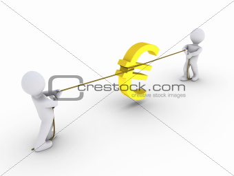 Two persons pulling rope with euro sign