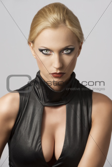 beautiful woman in sexy dress with actractive eyes