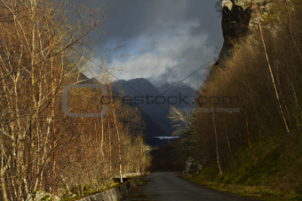 rural landscape in norway - evening scene