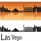 Las Vegas skyline in orange background