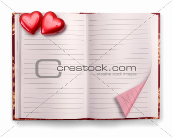 Open Valentine diary blank notebook