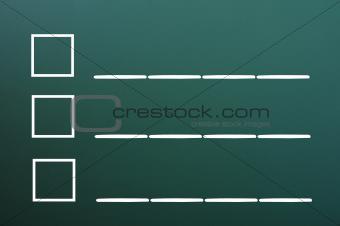 Blank list on a blackboard background