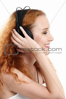 Redhead listening to music