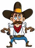 Cartoon cowboy ready to draw.