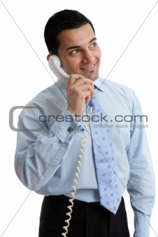 Happy Businessman looking up