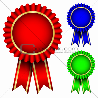 Vector illustration of red, blue & green badges